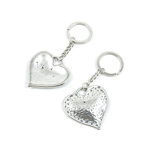 100 Pieces Keychain Door Car Key Chain Tags Keyring Ring Chain Keychain Supplies Antique Silver Tone Wholesale Bulk Lots X6PQ3 Love Heart by WOWGAME2009 KEYRING (Image #1)'