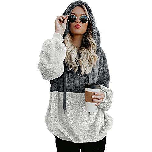 BOLUOYI Crop Hoodies for Teen Girls,Women Hooded Sweatshirt Winter Warm Zipper Pocket Pullover Blouse Shirts GY/M,Gray,M