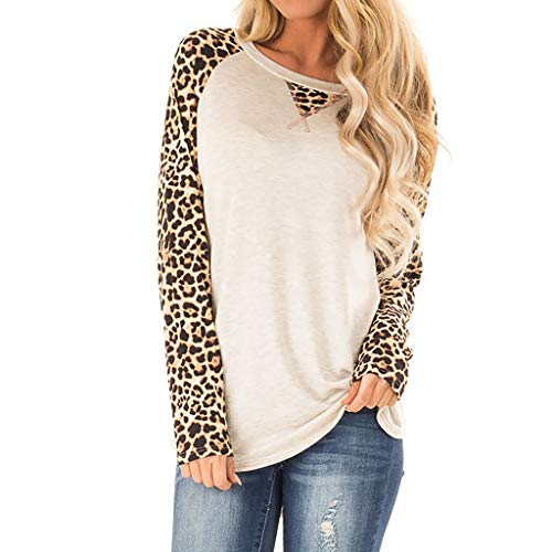 〓COOlCCI〓Women's Long Sleeve O-Neck Stripe Camouflage Patchwork Casual Loose T-Shirts Blouse Tunic Tops Pullover Tops