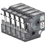 5x Schriftband kompatibel für Dymo D1 45013 Schwarz auf Weiß (12mm x 7m) LabelWriter 450 Duo LabelPoint 100 150 250 LabelManager 160 210D 220P 260P 280 360D 420P 450 500TS PnP Wireless MobileLabeler