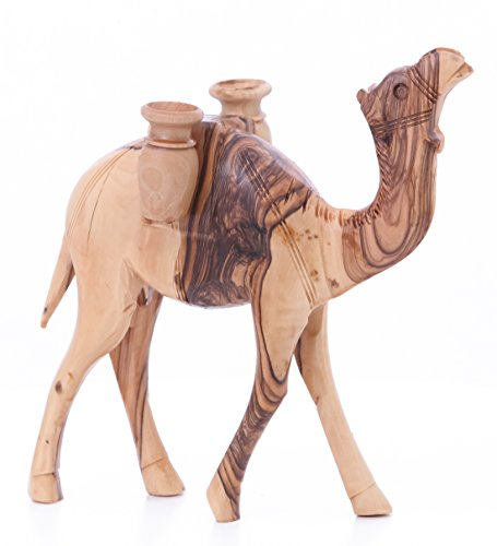Olive Wood Camel With Water Jars Olive Wood 20cm