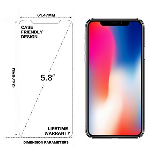 iPhone x pellicola protettiva, glass-m HD ultra Clear Bubble free anti impronte digitali case friendly 3D touch compatibile macchie d olio in vetro temperato 9H antigraffio rivestimento invisible Shi