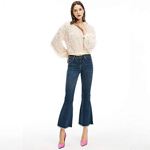 dnne Taille Neue Femme MVGUIHZPO Jeans elastische mit L Jeans Jeans Schlaghosen Taille hoher enge qPvB1BA