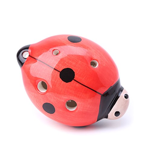 ULKEME 6 Hole Ladybug Ocarina Ceramic Key A C F Musical Instrument For Children Kids Red (Musical Ladybug)