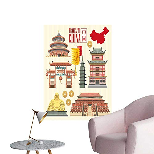 SeptSonne Wall Decals China Travel Chinese Set Architecture Foo Costumes Traditional Environmental Protection Vinyl,16