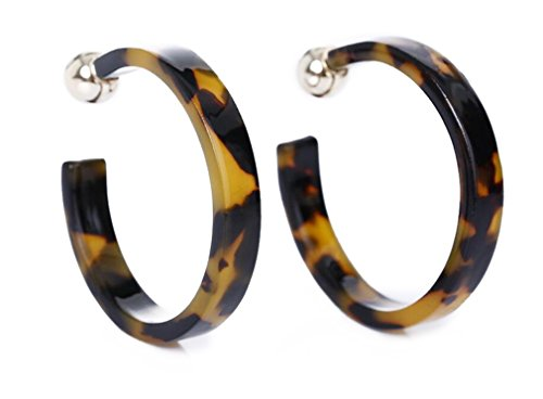 AIEDE Earrings Acrylic Marbled Earring Leopard Round Hoop Earrings-Black And Yellow (Leopard Acrylic)