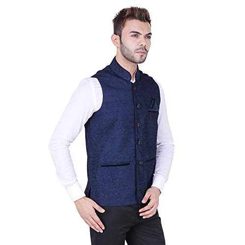 41QVLHD7y3L. SS500  - AKAAS Men's Poly Cotton Solid Button Chinese Collar Waist Coat Nehru Jacket for Marriage Party Ceremony