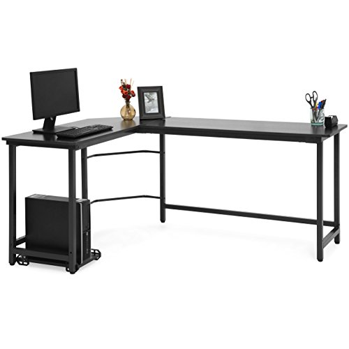 Best Choice Products Modern L-Shaped Corner Desk w/CPU Stand - Black
