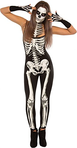 LOBiI78lu Women's X-rayed Halloween Off-shoulder Skeleton Dress Costume,Black-1,(US 8-10)M ()