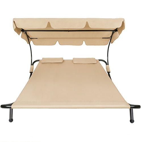 chaise longue 2 places avec pare-soleil et 2 coussins