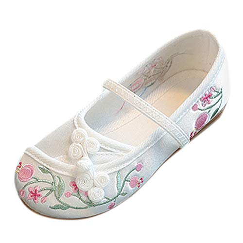 Tronet Kids Baby Girls Embroidery Flower Ethnic Style Casual Single Cloth Shoes Sandals Princess Dress Shoes White ()