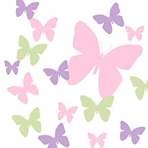 Mariposa pared decals rosa sage verde y forro ni as for Pegatinas pared nina
