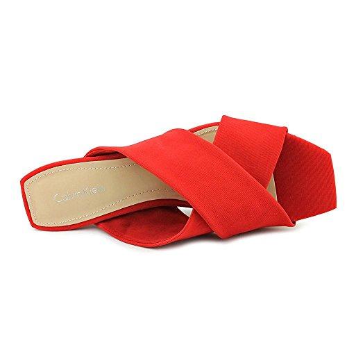 Calvin Klein Women Shyna Wedge Shoes Scarlett/White uBNVtY7