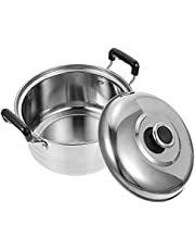 Housoutil Stock Pot Stainless Steel Soup Pot with Lid Kitchen Multifunctional Pot Kitchen Cookware for Restaurant Dishwasher Safe (Assorted Color)