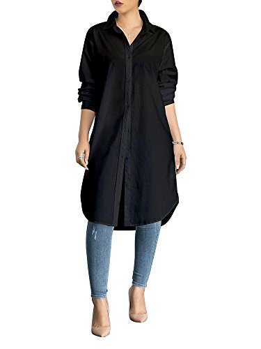 Women's Blouses Tops Long Sleeve Collar Neck Casual Simple Button-Down Shirts Black X-Large