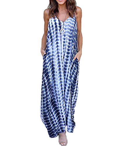 Kidsform Sleeveless Maxi Dresses for Women Stripe Floral Bohemian Casual Loose V Neck Spaghetti Straps Adjustable Dress Summer Party Beachwear Plus Size with Pockets C-Light Blue Small