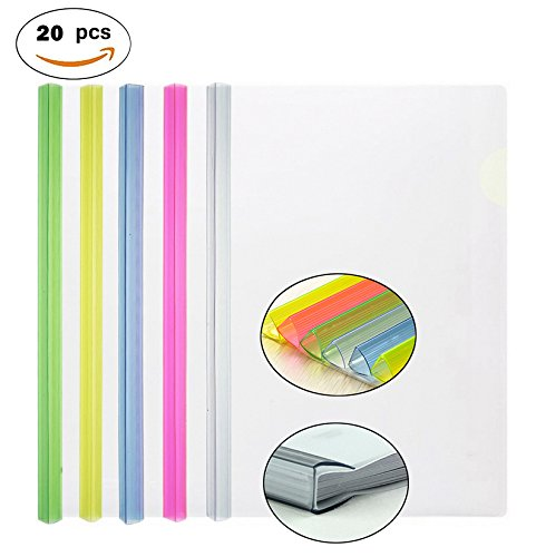 Sheet Music Cover (Transparent Plastic File Folder Sliding Bar Report Covers(with Thicker Sliding Bar,90 sheet capacity), Transparent Resume Presentation File Folders Organizer Binder For A4 Size Paper, 5 Color 20 Pcs)