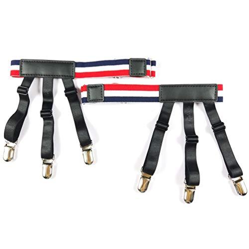 Jelinda Mens Shirt Stays with Adjustable Garters Non Slip Clamps ... (Chromatic stripe)