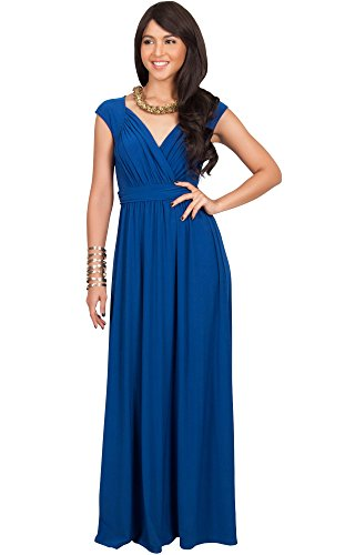 Ladies Fancy Dress (KOH KOH Womens Long Cap Short Sleeve Cocktail Evening Sleeveless Bridesmaid Wedding V-neck Empire Waist Vintage Gown Gowns Maxi Dress Dresses for Women, Cobalt / Royal Blue M 8-10 (1))