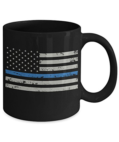 THIN BLUE LINE AMERICAN FLAG COFFEE MUG- retired police officer gift -Firefighter collectibles -Firefighter wife mugs-USflag thin blue line birthday gifts for - Map Airport Chicago