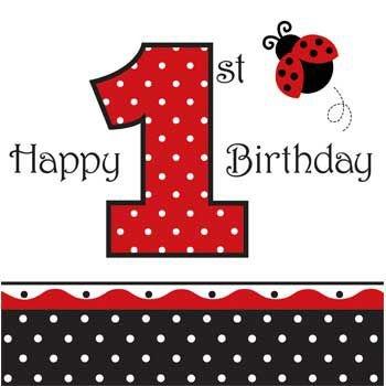 Ladybug Fancy Lunch Napkins, 3-Ply, 1st Birthday