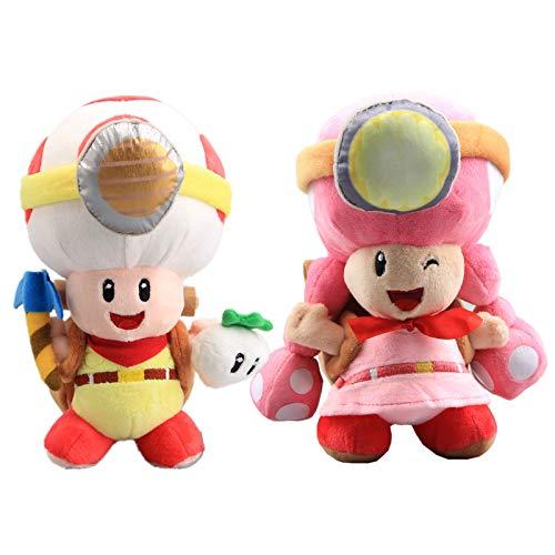 uiuoutoy Super Mario Bros. Captain Toad & Toad Brigade Toadette Plush Toys 8'' Set of 2 pcs ()