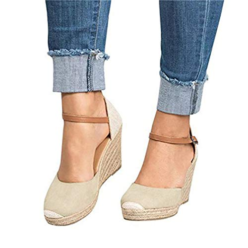 Mafulus Womens Platform Wedge Sandals Closed Toe Lace Up Ankle Strap Heel Slingback Espadrille Sandals ()