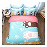 DECORATE Flat Sheet, 4 Pieces Bedding Set, Fitted Sheet, Cartoon Printed Pattern,Includes Comforter,Cool & Breathable, Lovely Style