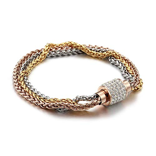 I'S ISAACSONG Stainless Steel Multilayer Link Strand Bracelet- 3 Colored Braided Chain with Magnetic Clasp Stackable Bangles for Women and Men (Rose Gold, Yellow Gold & Silver)