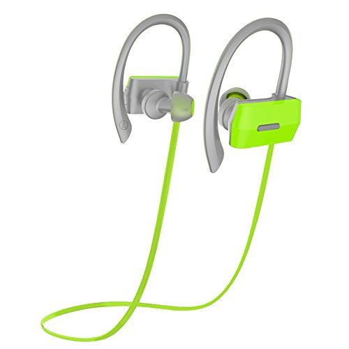 Bluetooth Headphones Headset Rymemo Sweatproof Wireless Music Earphones Sports/Exercise /Running In-Ear Noise Cancellation Stereo Earbuds for Cellphones/Tablets, Green-Grey