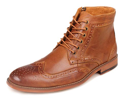 Kunsto Men's Leather Classic Brogue Boots Brown - stylishcombatboots.com