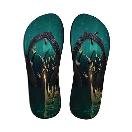 aa9973eb40279 TecBillion Fantasy Wear Resisting Flip Flops,Medieval Elf Boats and Magical  Birds Swans Flying Mystical