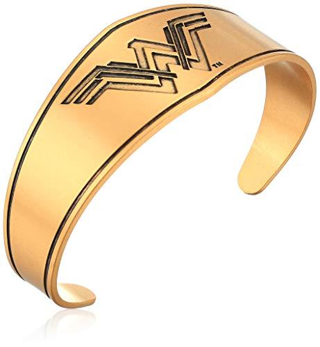 Alex and Ani Wonder Woman Warrior Prince Shiny Silver Bangle Bracelet, Rafaelian Gold, Expandable