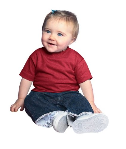 3401 T-shirt (Rabbit Skins Baby-Boys 5.5 Oz. Short-Sleeve Jersey T-Shirt(3401)-MAROON-24MOS)