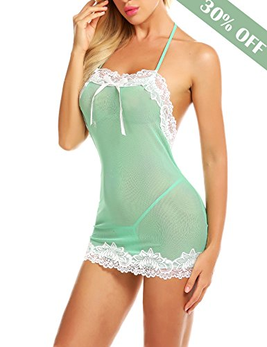 Chemise Set - Avidlove Women Honeymoon Lingerie Sexy Babydoll Halter Chemise Outfit Green XL