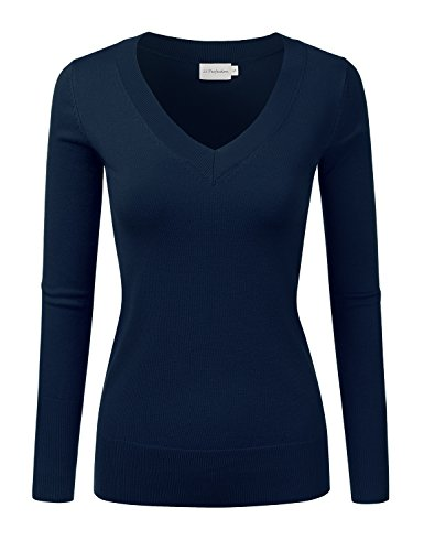 JJ Perfection Women's Simple V-Neck Pullover Chic Soft Sweater Navy S