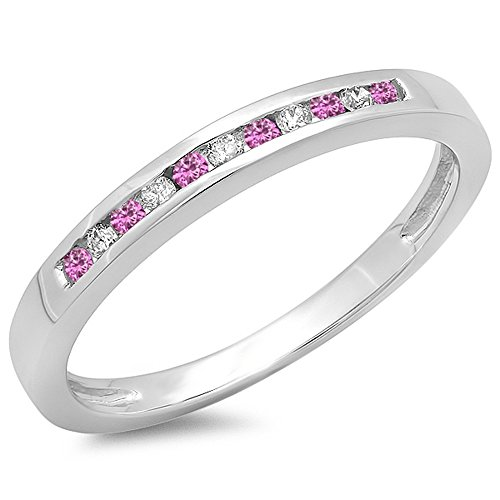 10K White Gold Round Pink Sapphire & White Diamond Anniversary Wedding Band Stackable Ring (Size 7.5) - Pink Sapphire Stackable Ring