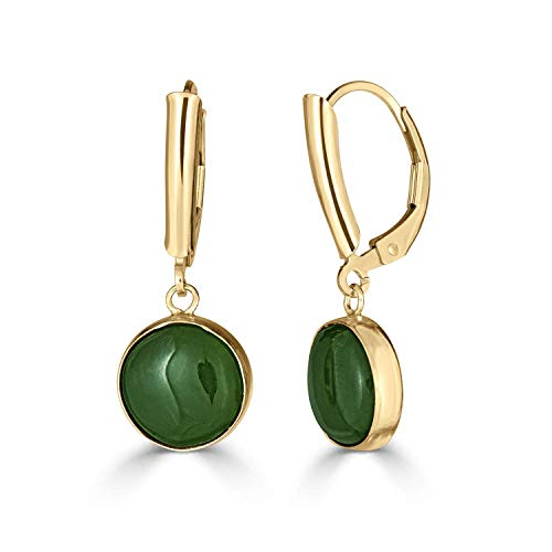 - Natural 10 mm Round Green Jade Handmade Drop Dangle Lever Back Earrings for Women 14K Gold Filled