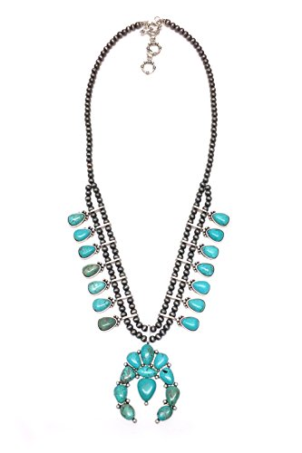 (JChronicles Natural Turquoise Stone Squash Blossom Necklace (SQ-707))