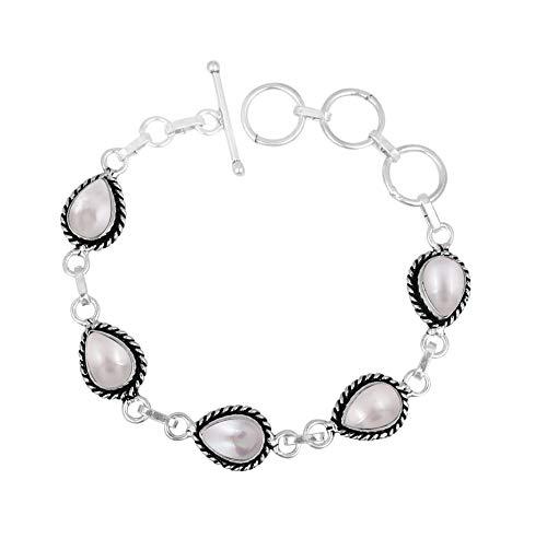 Genuine Oval Shape Pearl Link Bracelet 925 Silver Plated Handmade Vintage Bohemian Style Jewelry for Women