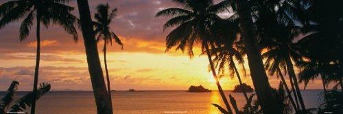 Tropical Sunset Art Print Poster Palm Trees Tropical Island Getaway