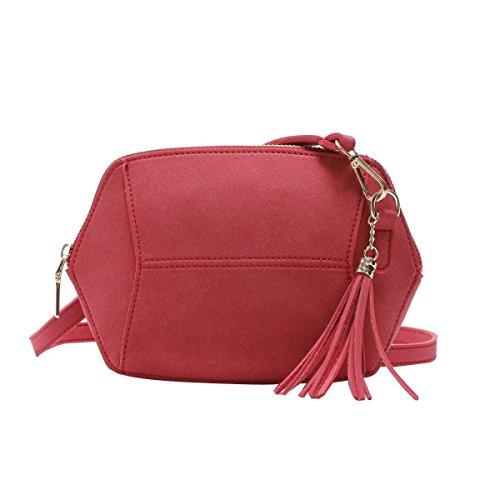 Borsa Donna Semplice Moda Smerigliato Colore Della Caramella Del Sacchetto Della Nappa Spalla,Red-OneSize