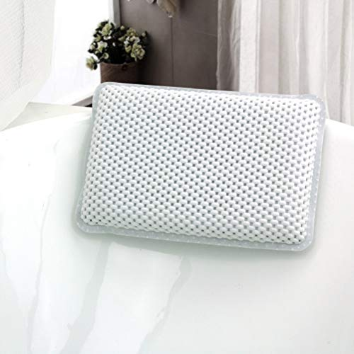 (Tebery Bathtub and Spa Pillow with Suction Cups Supports Neck and Shoulders for Bathtub, Hot Tub,)