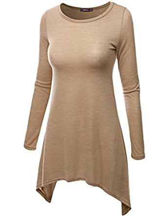 Doublju Women Sexy Colorful 3/4 Sleeve Tunic BEIGE,S