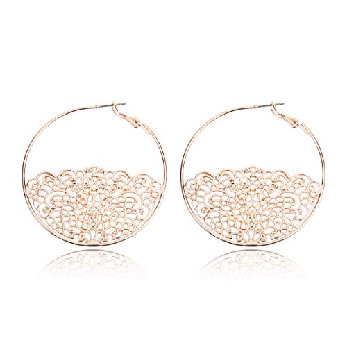 (RIAH FASHION Simple Geometric Hoop Statement Earrings - Bohemian Tribal Lightweight Profile Shield Threader Dangles Curved Metal Crescent Moon, Embellished, Floral (Scallop Lace - Rose Gold))