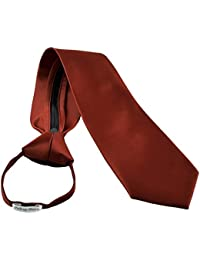 Men's Zipper Tie by Romario Manzini Neckwear Collection - Rust