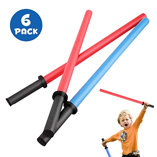 Set of 6 Pool Noodles Foam Light Sabre Toy Swords - Kids Bulk Party Favors - Ideal for Pools, Backyard, Outdoors Play (29-Inches)