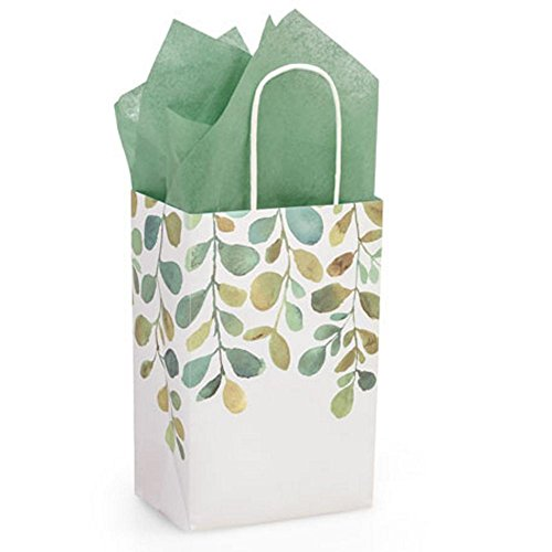 Watercolor Greenery Paper Shopping Bags - Rose Size - 5 1/4 x 3 1/2 x 8 1/4in. - 150 Pack by NW