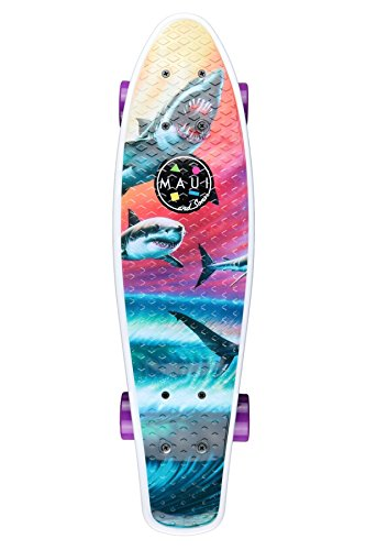 "Maui & Sons 24"" Cruiser Kicktail Skateboard featuring X-Caliber Trucks and ABEC 5 Bearings (Wave Predators)"