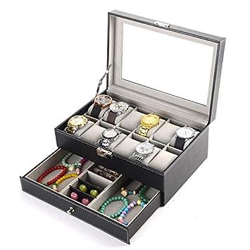 Amazon.com: PENGKE Organizador de caja de reloj, 2 estantes ...
